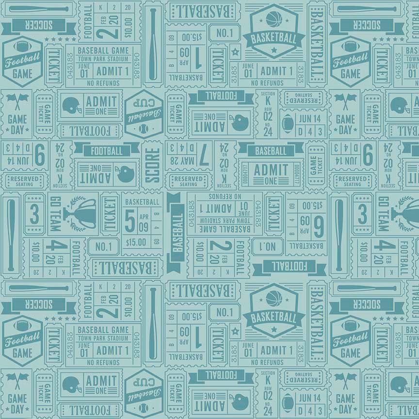 Game Day by Lori Whitlock | Aqua Sports Ticket Fabric