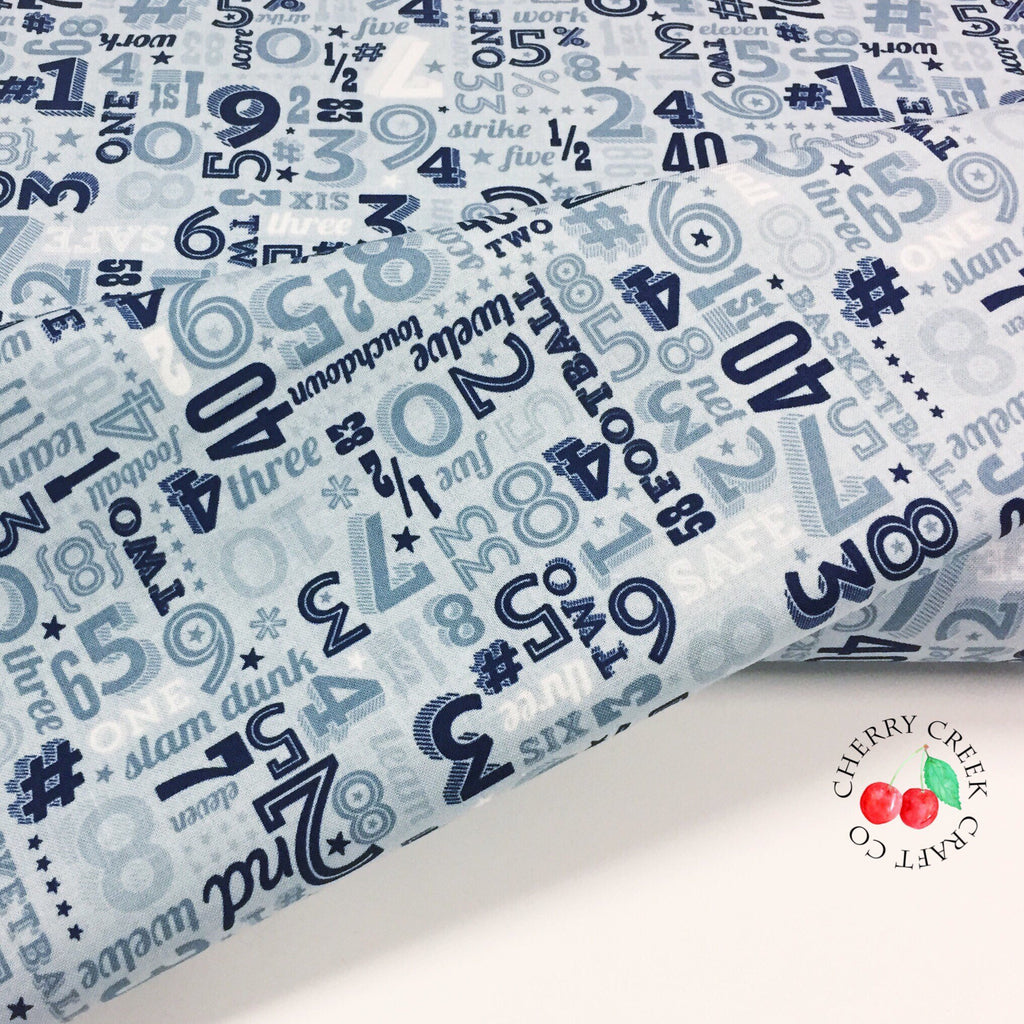 Game Day by Lori Whitlock | Aqua Sports Numbers Fabric