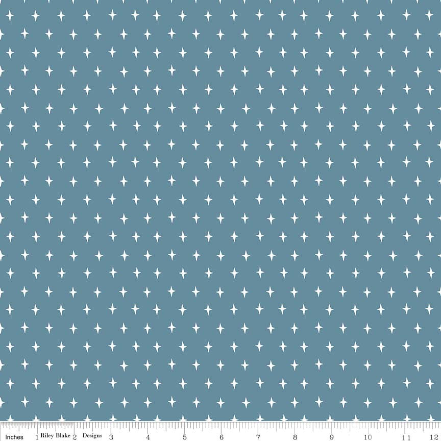 "Lancelot by Citrus & Mint | END OF BOLT 1 yd + 21"" - Dark Blue Stars Fabric"