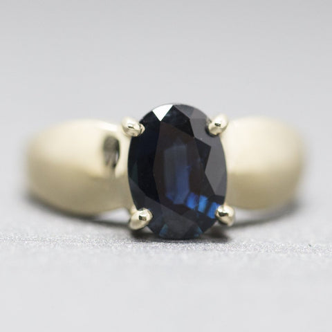 1.27ct Natural Untreated Rich Blue Sapphire Solitaire Ring in 14k Yellow Gold Size 6.25