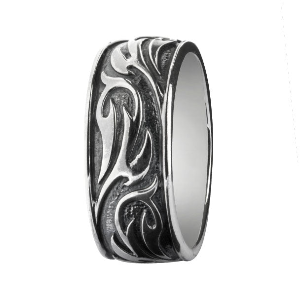Tribal Design Ring Silber oxidiert,  - Rebeligion True Silver-Offizieller Shop