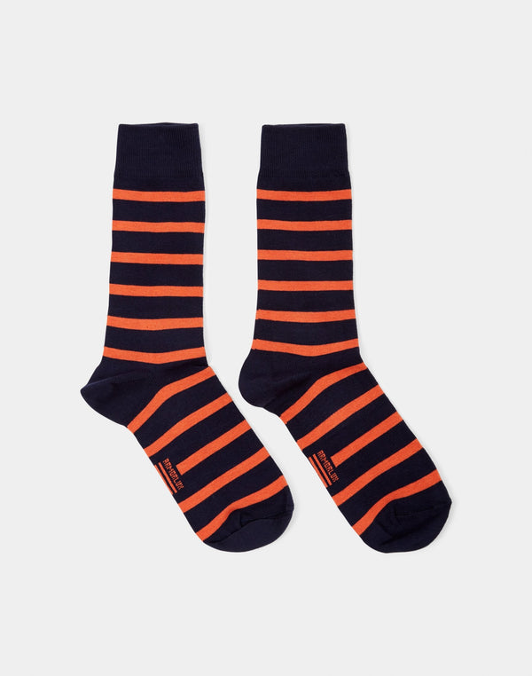 Armor Lux - Chaussettes Homme Socks Navy & Orange