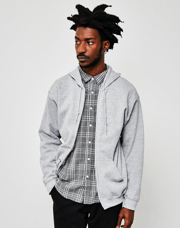 The Idle Man - Classic Zip Through Hoodie Grey