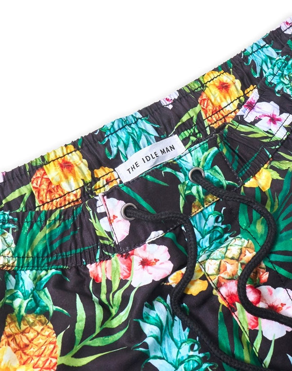 The Idle Man - Tropical Swim Shorts Black