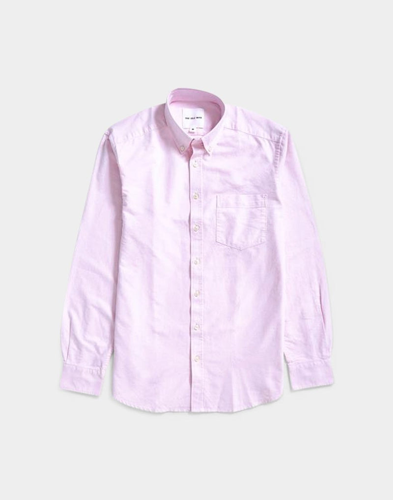 The Idle Man - Relaxed Modern Fit Oxford Shirt Pink