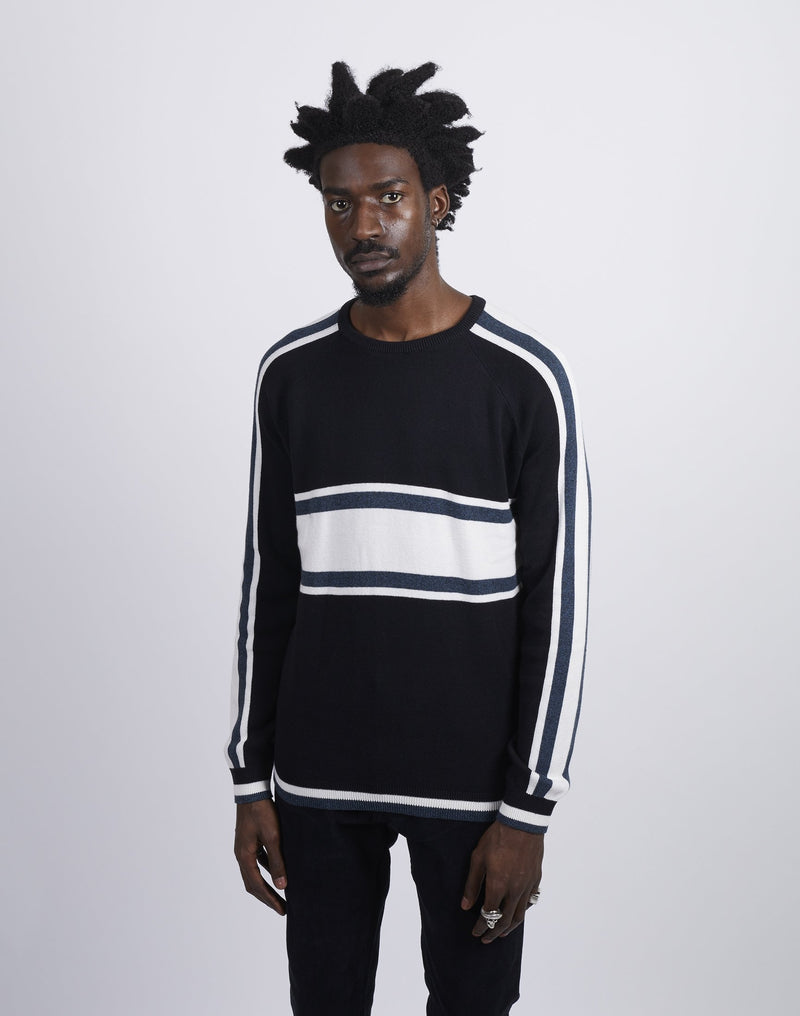 The Idle Man - Striped Crew Neck Knitted Jumper Black