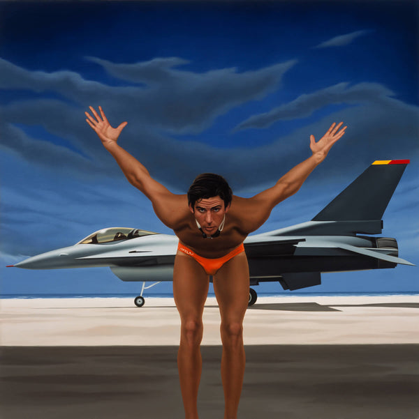 Painting of Grant Hackett in diving pose on beach with fighter jet in background