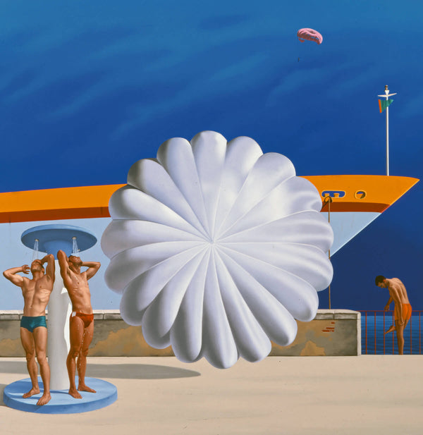 Surrealist painting of two men showering in front of ship and oversized parachute