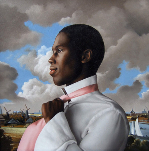 Ross Watson painting of black man in white shirt knotting pink tie in van Ruisdael dutch landscape