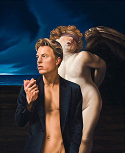 Ross Watson painting of blonde man in jacket eating peach in front of blind folded angel after Reni