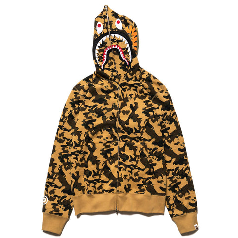 A BATHING APE Desert Camo Shark Full Zip Hoodie Yellow, Sweaters