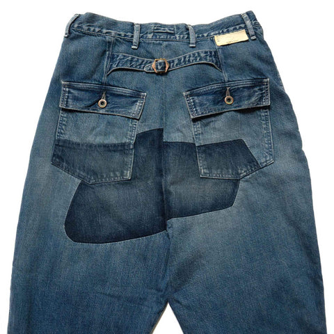 KAPITAL KOUNTRY 11.5oz Denim Mining Damaged High Waisted DAKOTA Pants Indigo, Bottoms