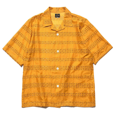 Needles Cabana Shirt Cotton Cloth Stripe EMB Mustard, Tops