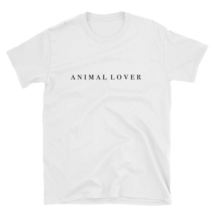 "White T-shirt, that reads ""Animal Lover"". Wear this shirt to express your love for all animals."