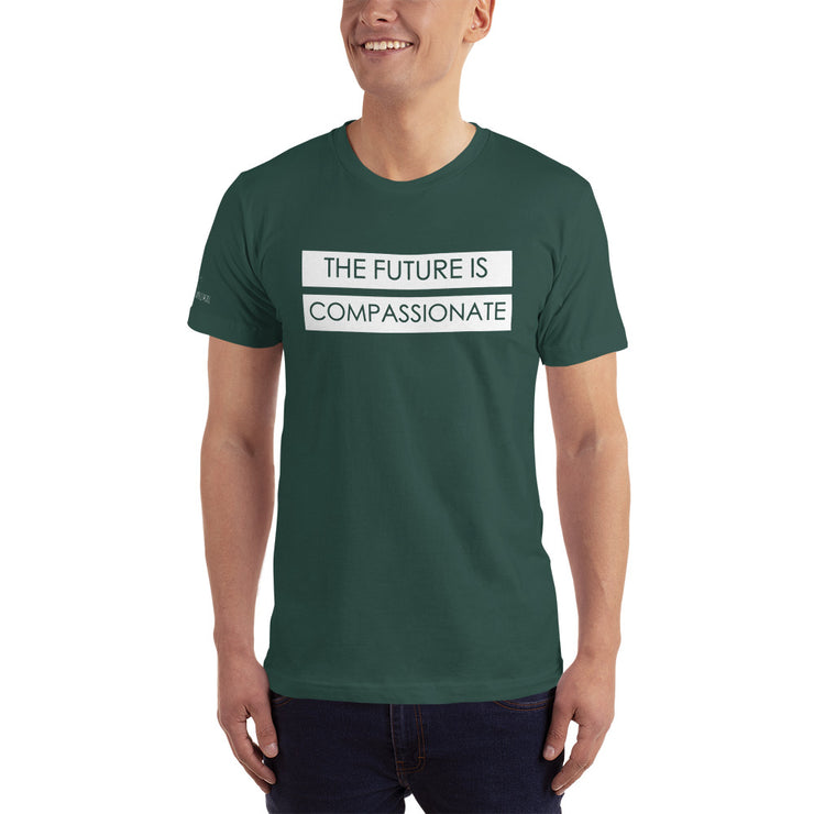 The Future is Compassionate, not just for us, but also the animals. Made in the US, and printed with water based inks. 15% of profits are donated to Slaughter House Survivors. A rescue working to save dogs and cats from the meat trade in China.