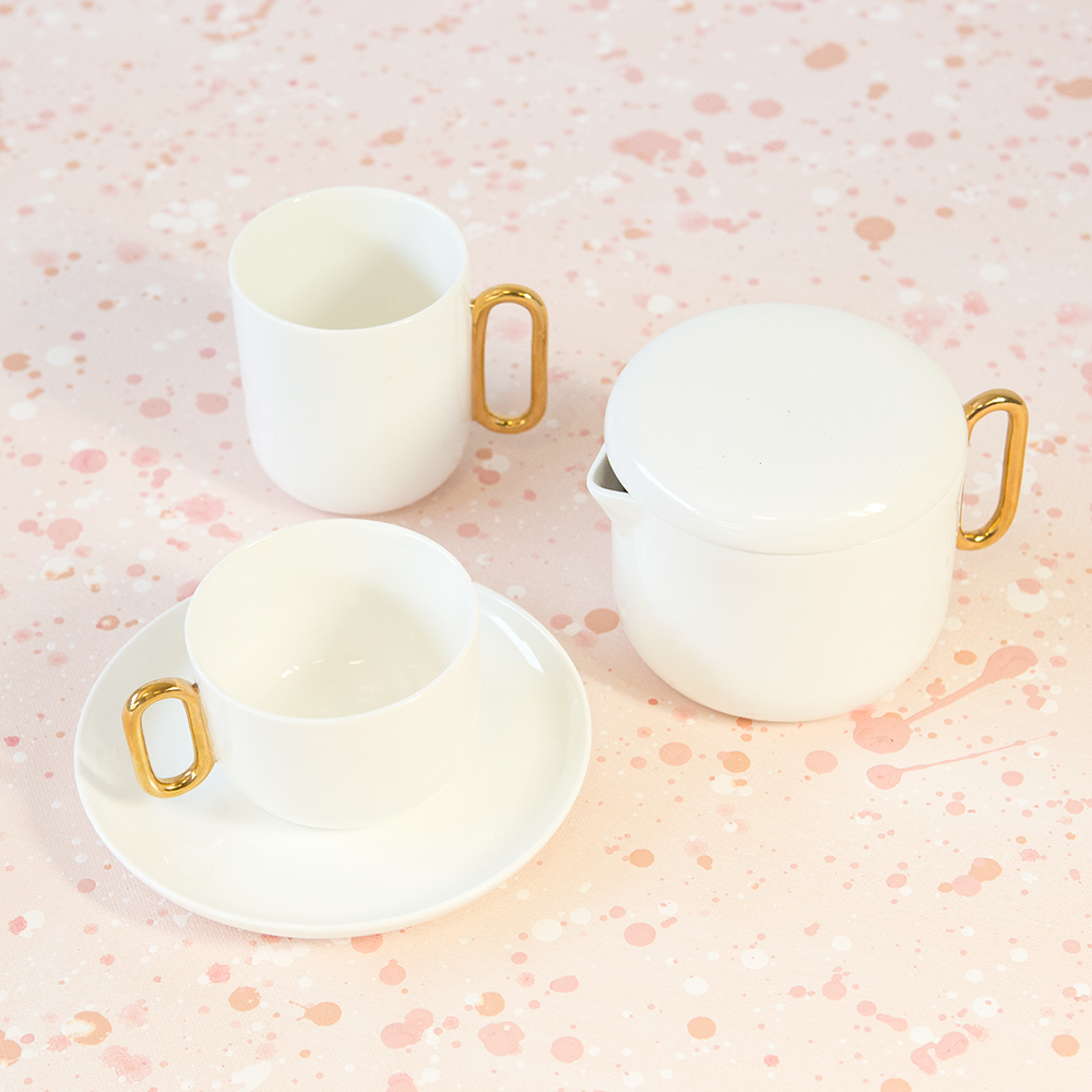Celine Luxe White Teacup and Saucer