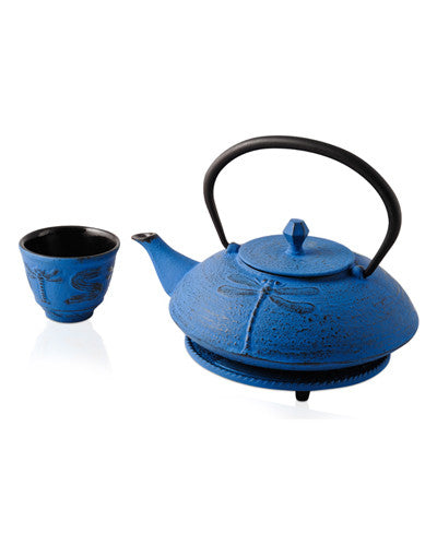 Dragonfly Blue Iron Teapot
