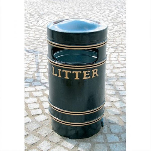 Round Cast Iron Litter Bin - 90 Litre  Techni-Pros - techni-pros