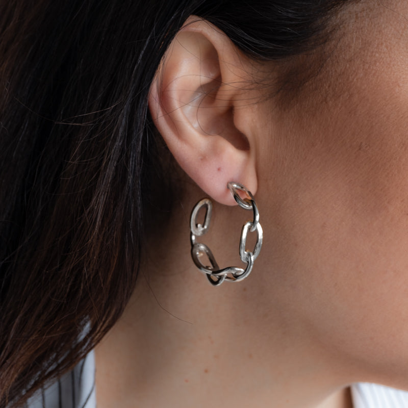 Riley silver small chain hoop earrings by 3rdfloor