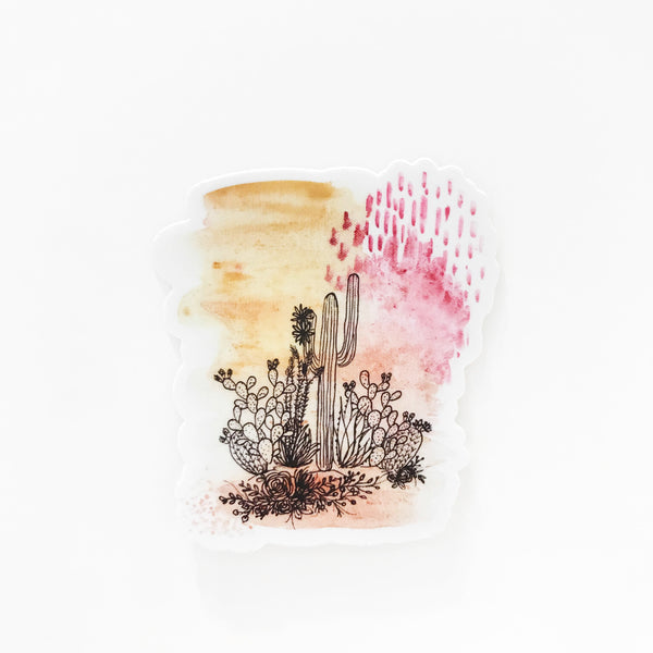 Modern Watercolor Cactus Sticker