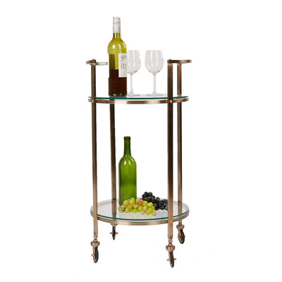 2 Tier Bar Cart, Metal Bar Cart with Glass Top