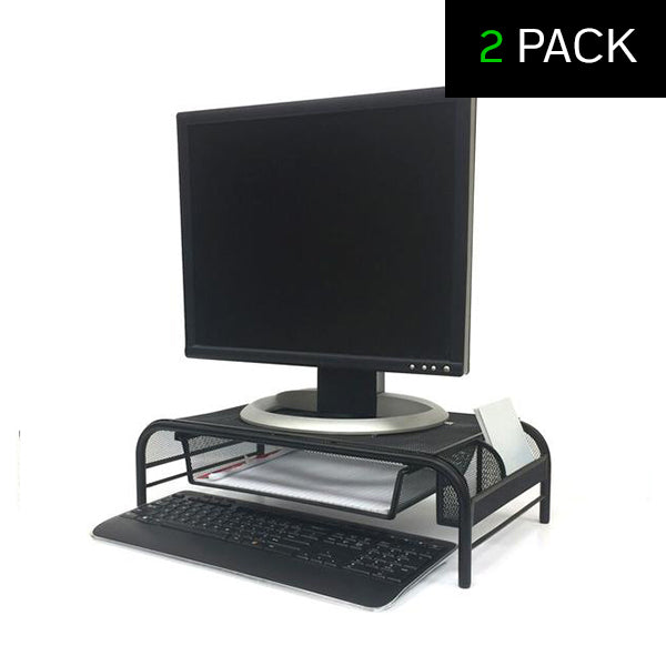 3 Compartment Metal Mesh Monitor Stand and Desk Organizer With Drawer - 2 Pack