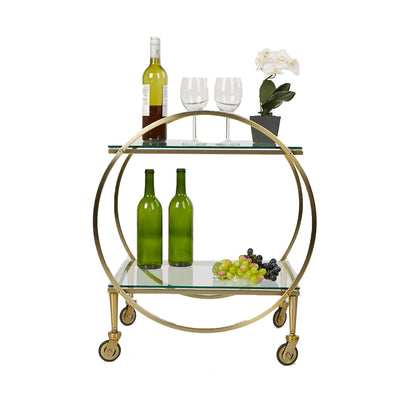 2 Tier Bar Cart, Metal Cart with Glass Top
