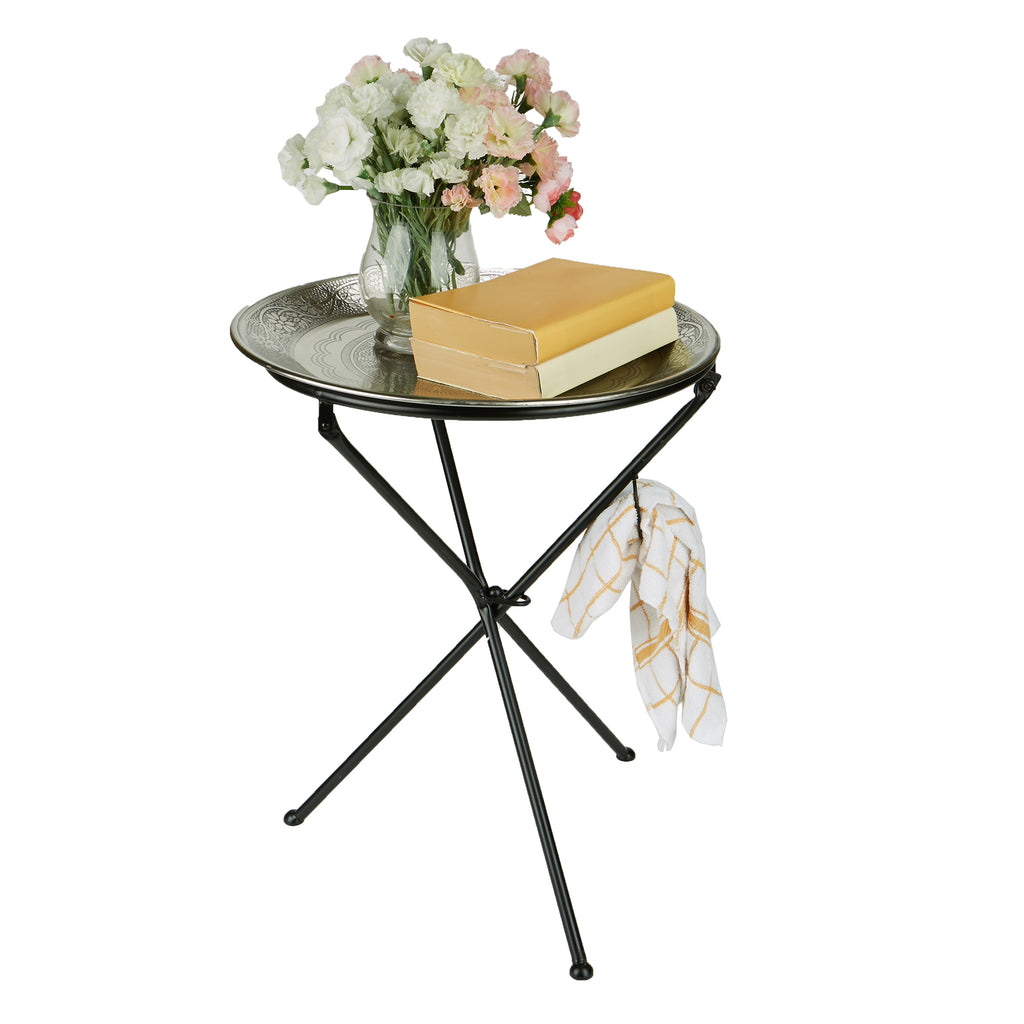Mind Reader Tunisian Table, Elegant Décor, Detachable Tray Table