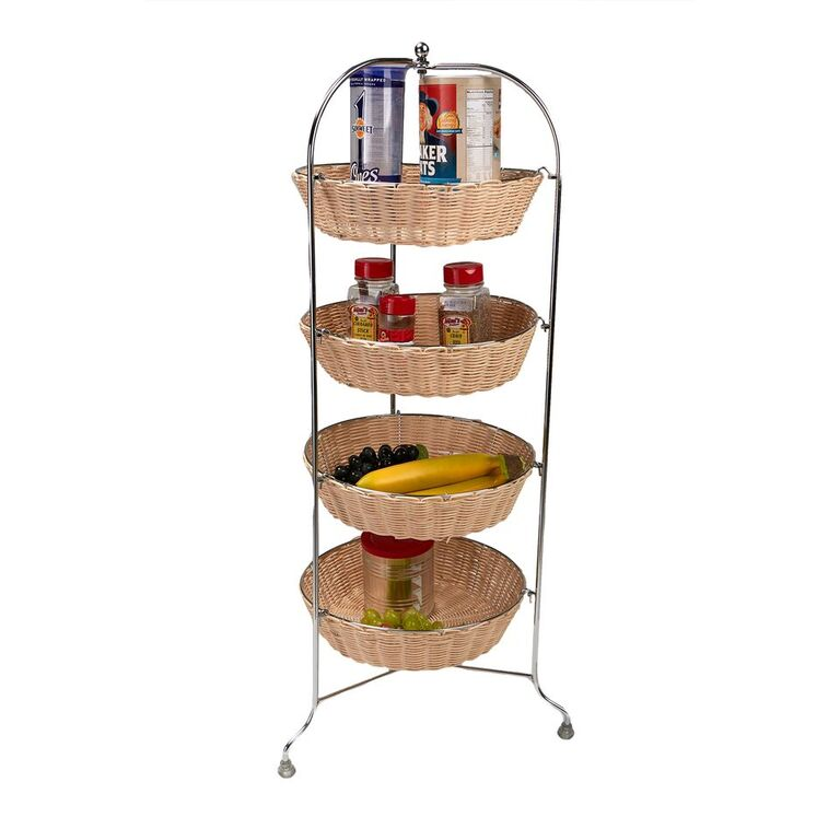 4 Tier Woven Baskets All Purpose Round Mobile Utility Cart
