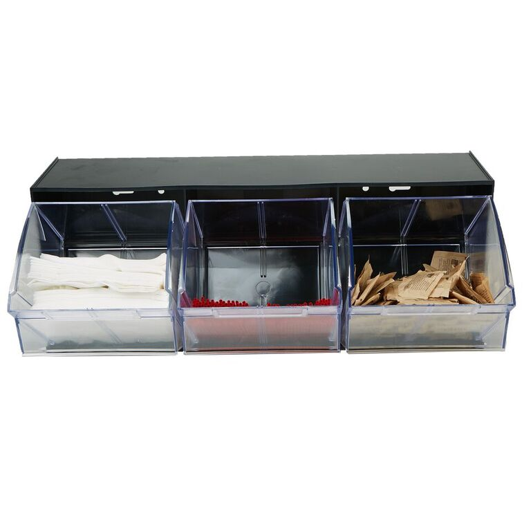 Multi Purpose Storage Tilt Drawer, 3 Compartment Removable Bins, Tip Out Clear Bins