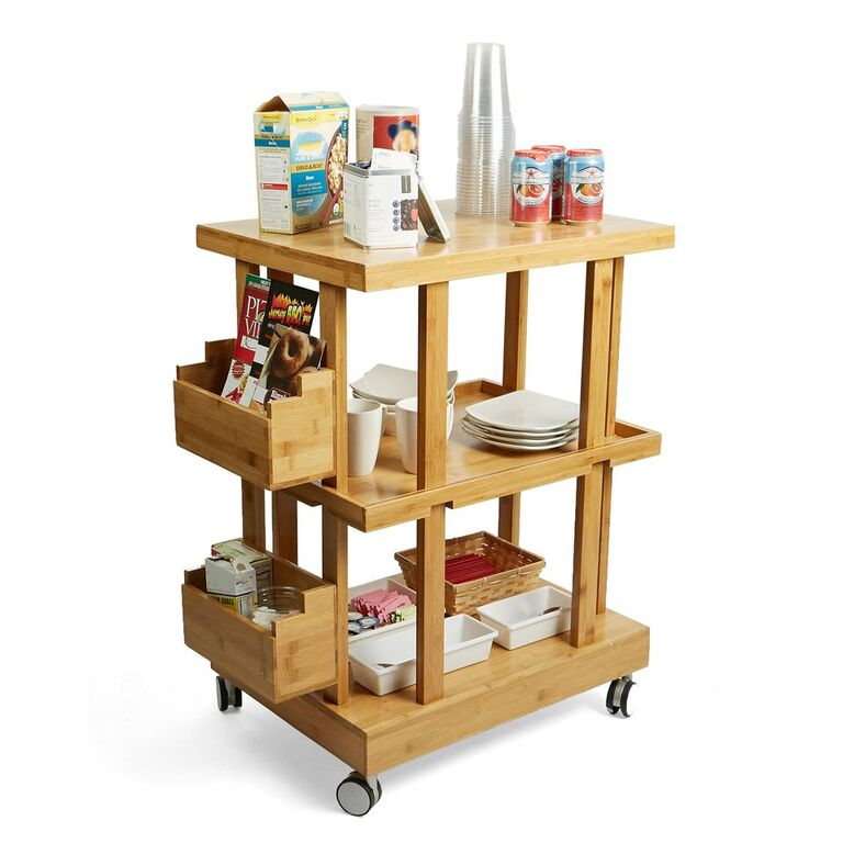3-Tier Kitchen Utility Cart with 2 Storage Compartments