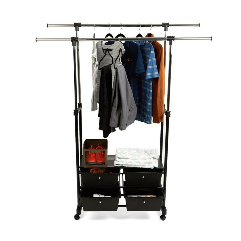 Double Garment Rack with 4 Bottom Drawers