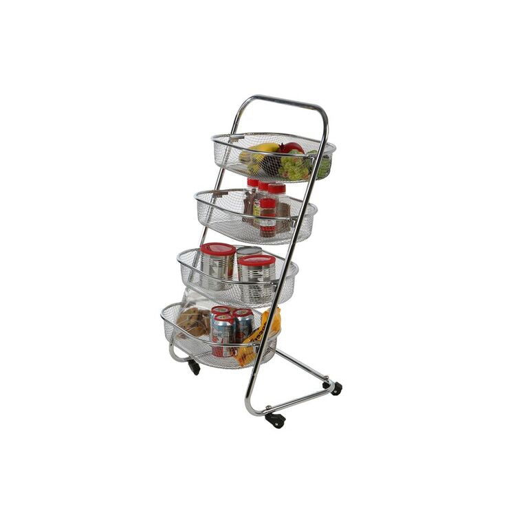 4 Tier Metal Wire Rolling Basket All Purpose Utility Cart Rack