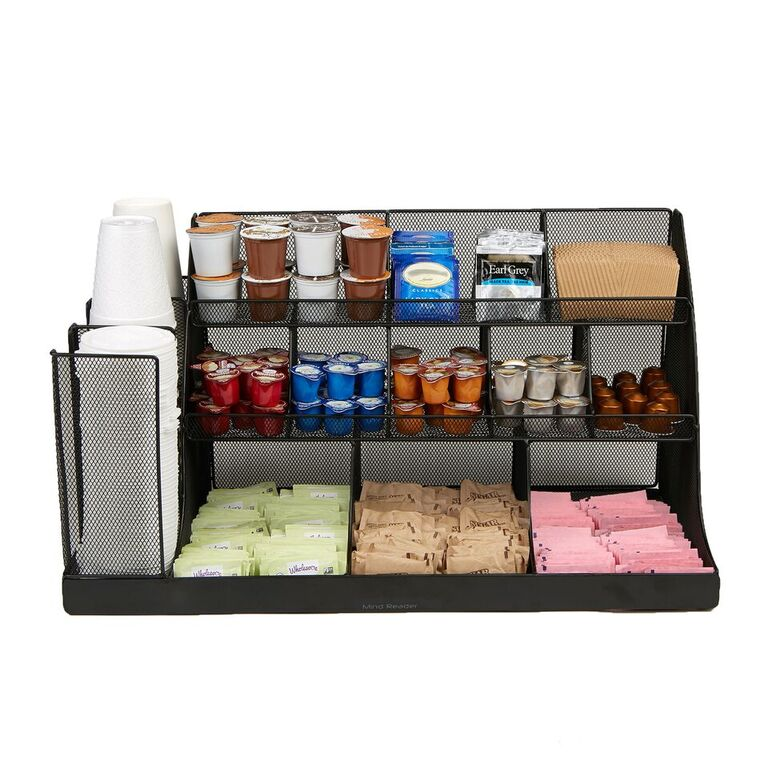 14 Compartment 3 Tier Large Breakroom Condiment Organizer