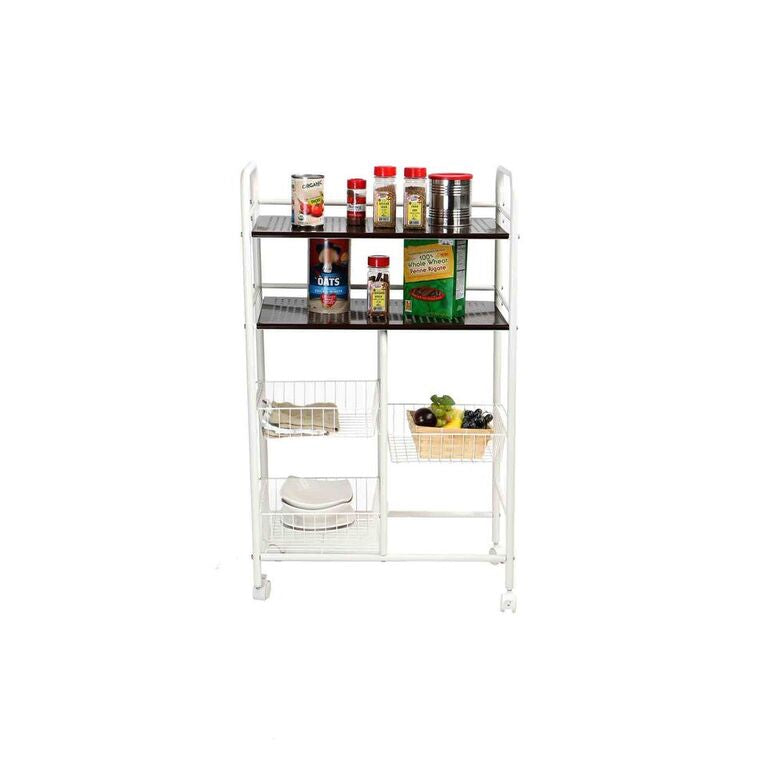 3 Tier Portable Metal Top Kitchen Trolley