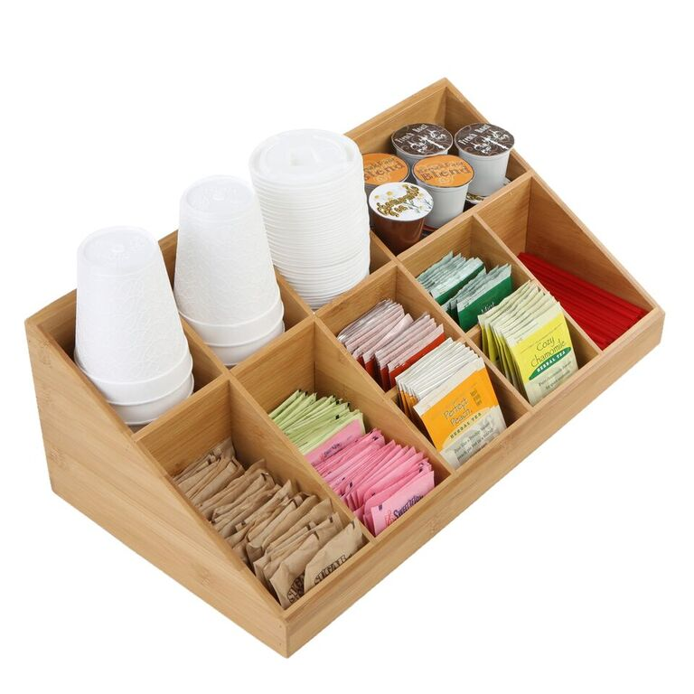 11 Compartment Coffee Condiment Organizer