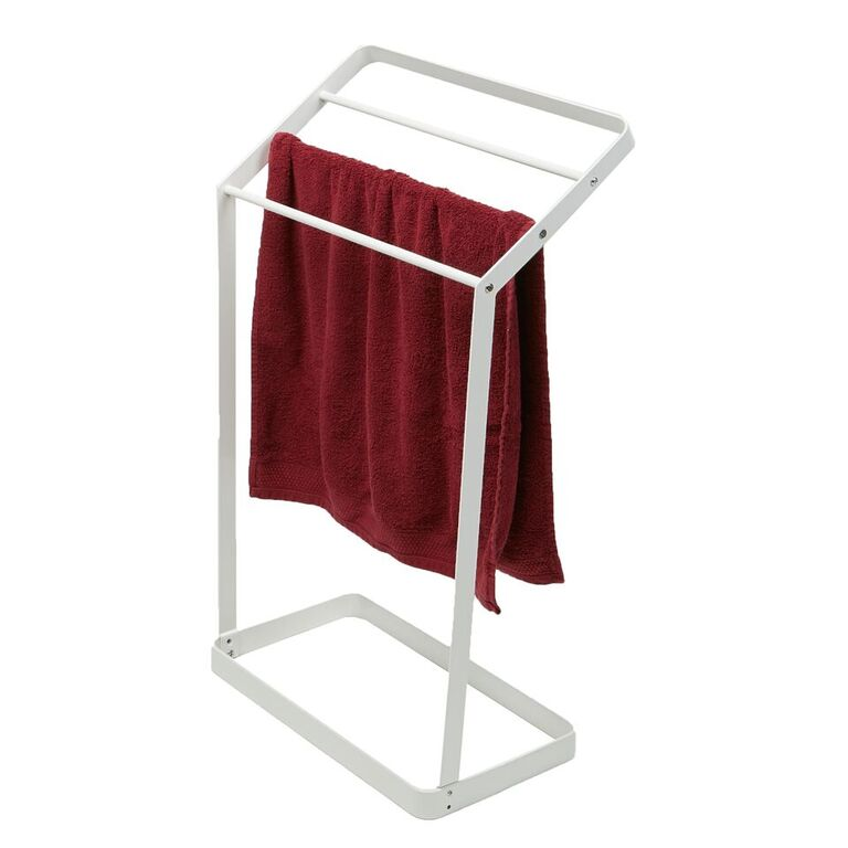 3 Tier Bath Towel Bar Stand Alone Bathroom Rack, Drying Stand, Towel Valet Holder