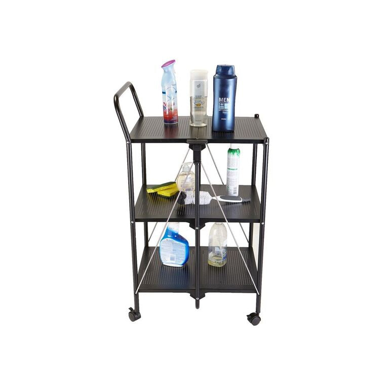 3 Tier Metal Shelf Foldable All Purpose Utility Cart