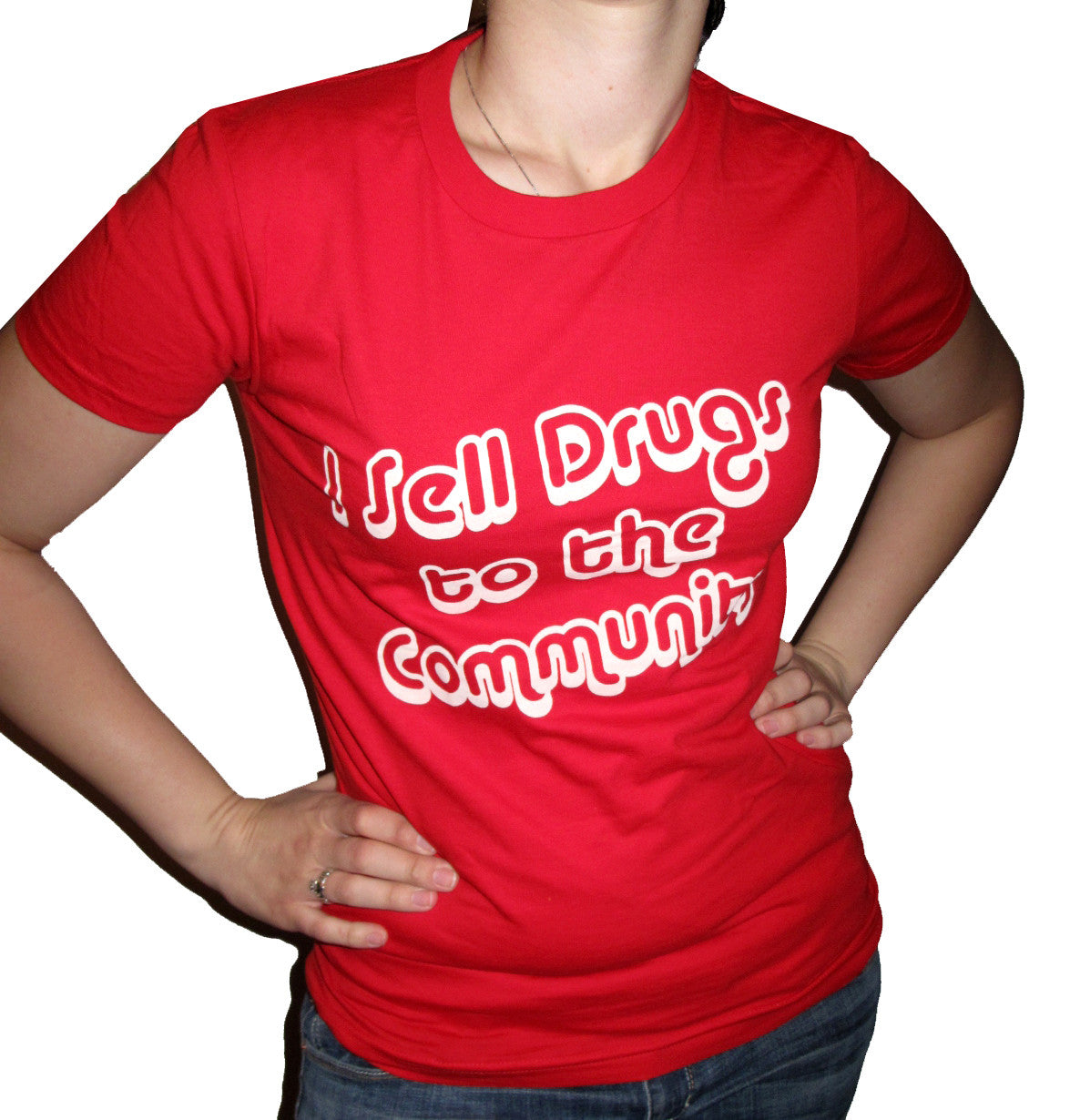 "BLACK DYNAMITE! Womens ""I Sell Drugs to the Community"" Tee"