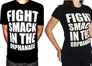 "BLACK DYNAMITE! ""Fight Smack in the Orphanage"" Black/White Tee"