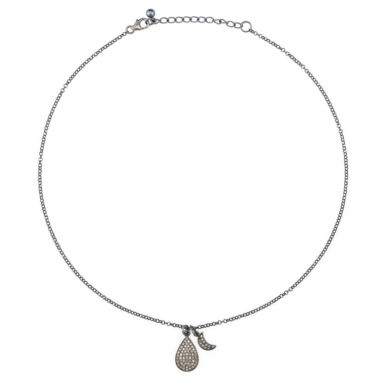 Diamond Pear and Moon Necklace