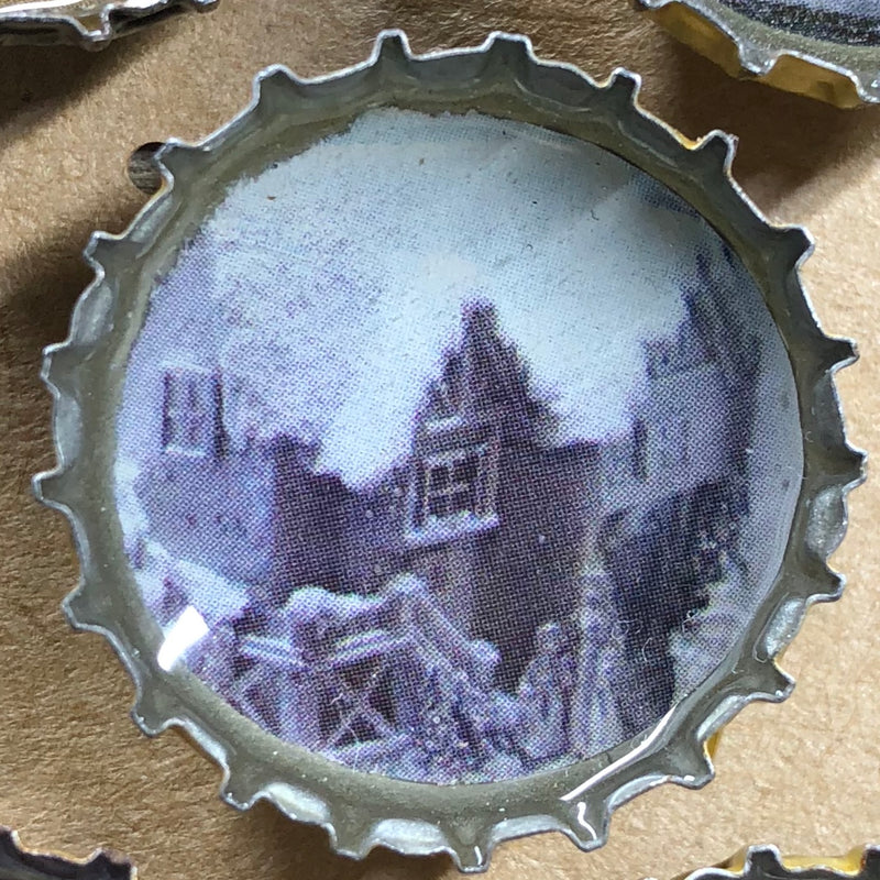 Winter Houses Magnet Set
