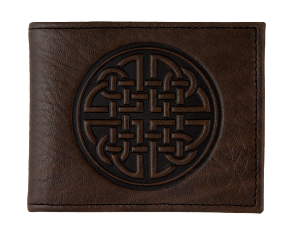 Oberon Fine Celtic Bifold Wallet in Chocolate