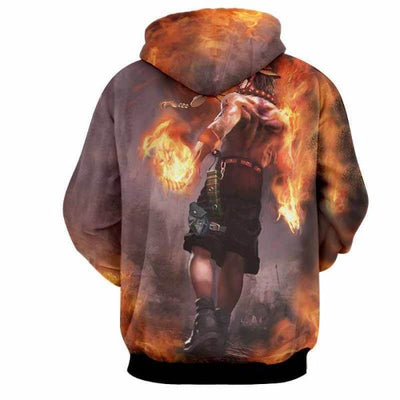 Ace Fire 3D Hoodie - One Piece