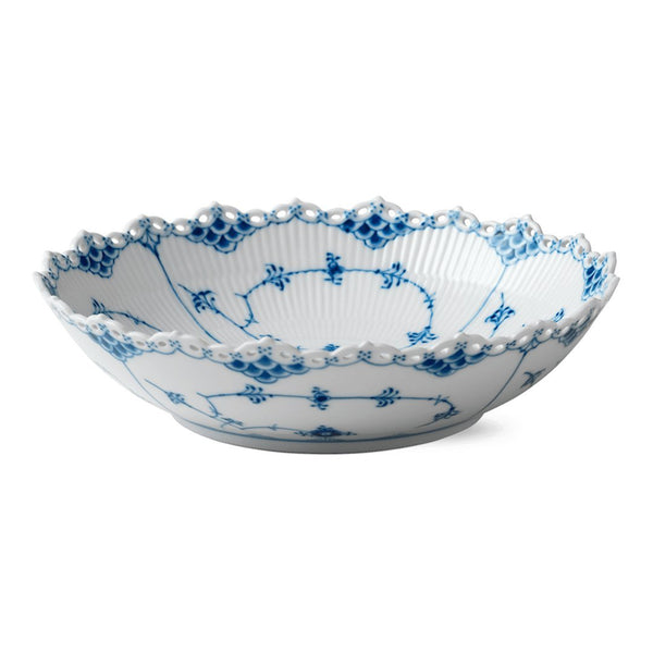 Blue Fluted Full Lace Serving Bowl