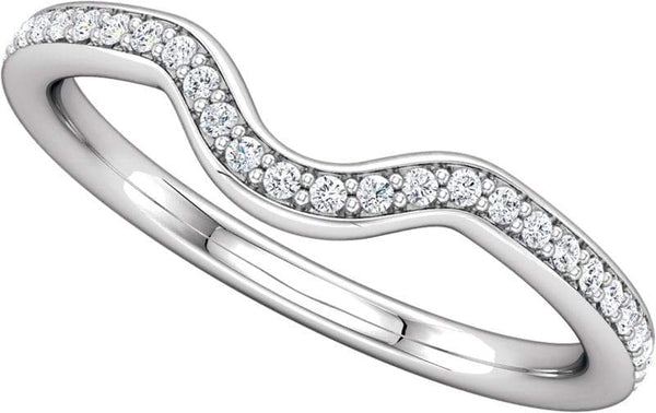 14 Karat White Gold Curved Diamond Band