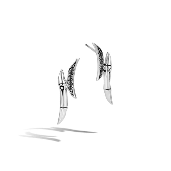 John Hardy Bamboo Stud Earring with Black Sapphire and Spinel