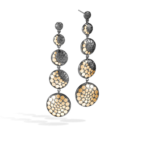 John Hardy Dot Moon Phase Hammered Drop Earring with Black Rhodium Plating