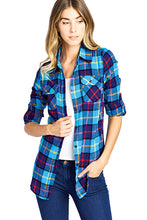 Load image into Gallery viewer, [Blue Age]WOMEN PLAID FLANNEL LONG SLEEVE BUTTON SHIRTS - Blueage Jeans