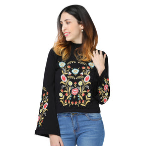 Stylish Stand Collar Long Sleeve Embroidery Women Sweater